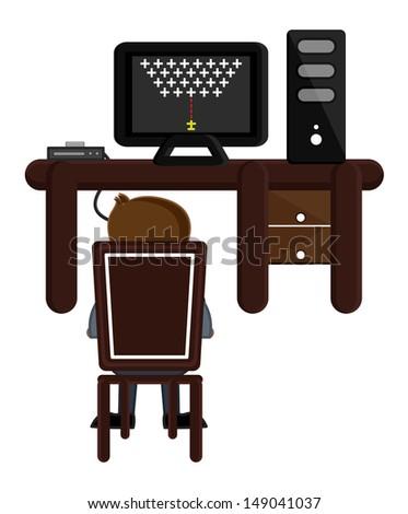 Playing Game on Desktop Computer - Business Cartoons Vectors - stock vector