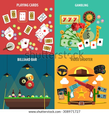 Playing games square banners set with cards gambling billiards and video flat isolated vector illustration  - stock vector