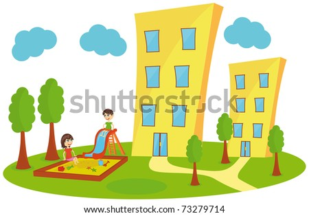 Playing kids in the city - stock vector