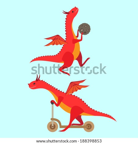 Playing little dragons. Vector set - stock vector