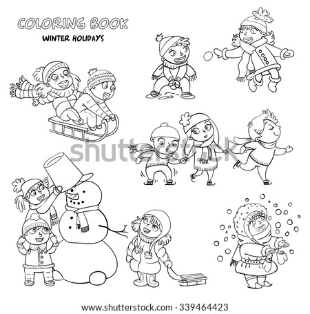 Playing outdoor. Children sledding. Boy and girl playing in snowballs. Schoolchildren making the snowman. Girl trying to catch snowflakes with her tongue. Funny cartoon character. Coloring book - stock vector