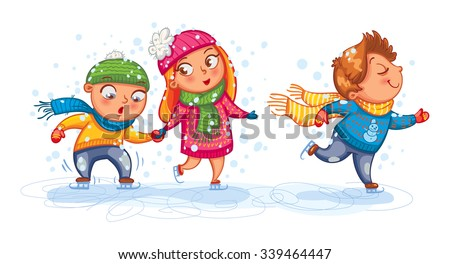 Playing outdoor. Funny children are skating. Cute cartoon character. Vector illustration. Isolated on white background - stock vector