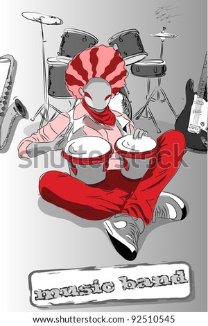 Playing the bongos, vector abstract music background - stock vector