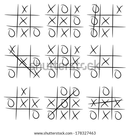 Playing Tic Tac Toe variations on white background - stock vector