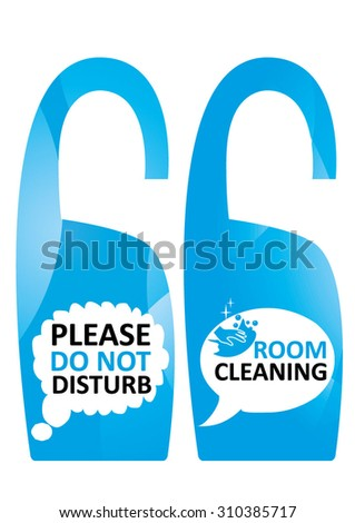 Please do not disturb card design and cleaning room card design for hotel service - stock vector