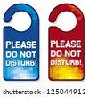 please do not disturb vector sign set (hotel hanger sign) - stock vector