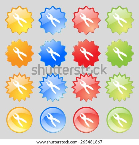 pliers icon sign. Big set of 16 colorful modern buttons for your design. Vector illustration - stock vector