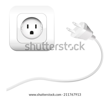 Plug and a socket - NEMA connector to connect electrical equipment. Isolated vector illustration on white background. - stock vector