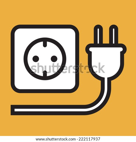 Plug and socket icon on yellow background - stock vector