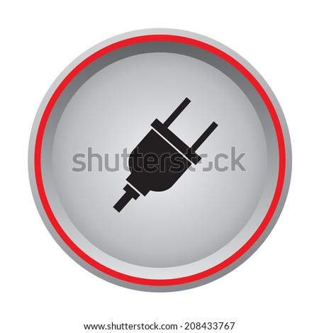 plug computer icon circular button - stock vector