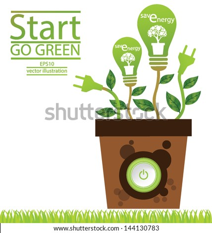 Plug. Green concepts save energy. save world. vector illustration. - stock vector