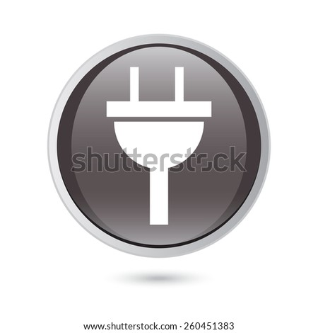 plug icon electricity sign. black glossy button. - stock vector
