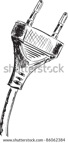 Plug sketch cartoon vector illustration - stock vector