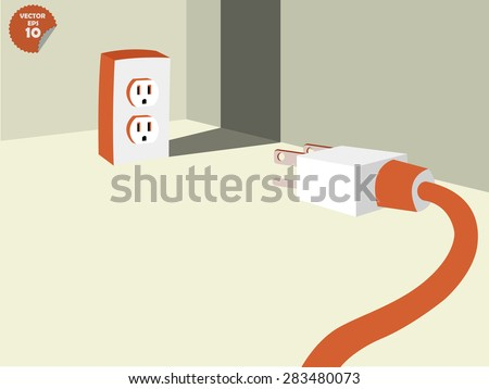 plug stalemate the socket into the conner of room, energy consumption concept - stock vector