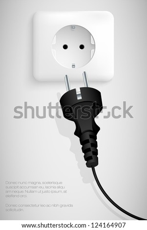 plug the wire into the socket - stock vector