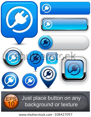 Plug web blue buttons for website or app. Vector eps10. - stock vector