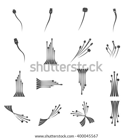 Plug Wire Cable Computer  icon set  vector illustration - stock vector