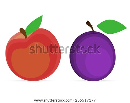 plum and peach on a white background - stock vector