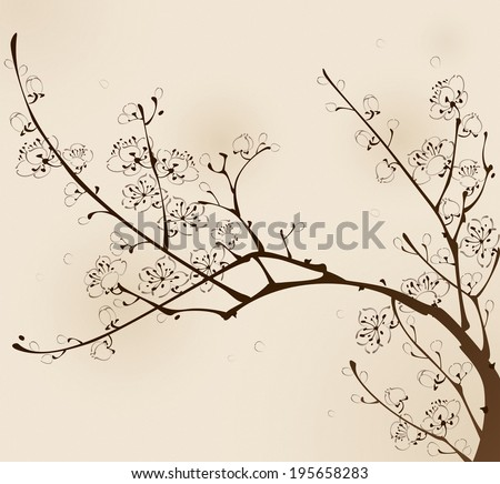 Plum blossom with line design, vectorized brush painting. - stock vector