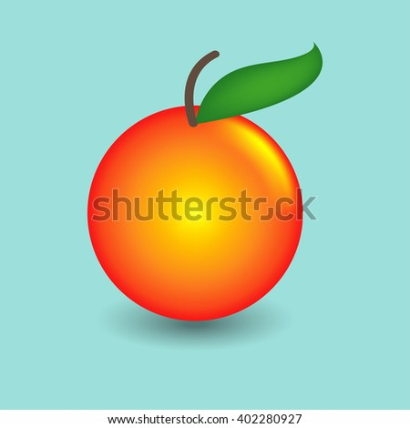 Plum Orange with Shadow on Blue Pastel Background - stock vector