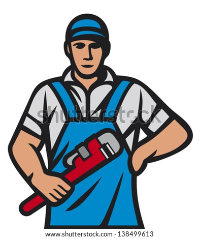 plumber holding a wrench (plumber holding monkey wrench, plumber worker, plumber in uniform with tools, plumber worker, plumber with tools, plumbing services) - stock vector