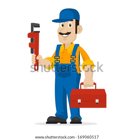 Plumber holds an adjustable spanner and suitcase - stock vector