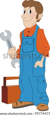 plumber is holding in his hand wrench - stock vector