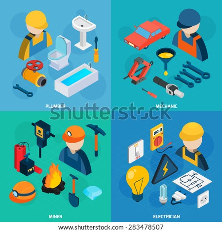 Plumber mechanic electric and miner profession man with tools isometric icons set isolated vector illustration - stock vector