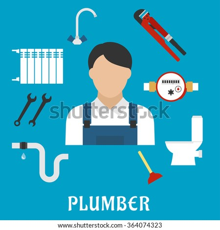 Plumber profession or service flat icons with radiator of heating system, water faucet and water meter, toilet, adjustable wrench, pipes system with leak, spanners, plunger and plumber man - stock vector