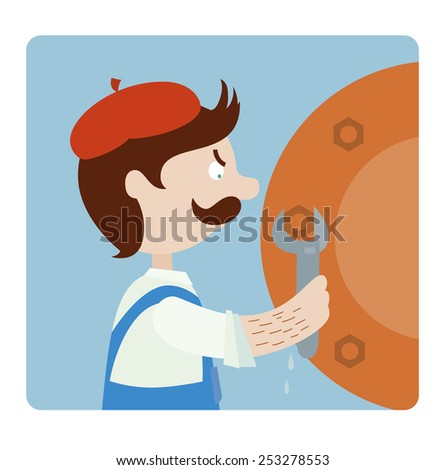 Plumber repairing a pipe with wrench - stock vector