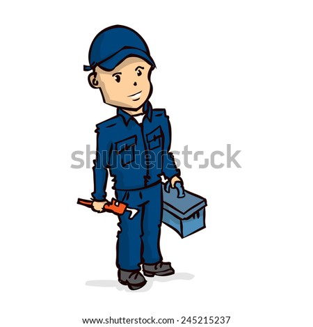 Plumber with the adjustable wrench and tool box. Hand drawn vector cartoon illustration. Isolated on white. - stock vector