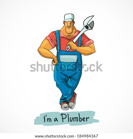 Plumber worker in shirt overall and gumshoes with monkey wrench character vector illustration - stock vector