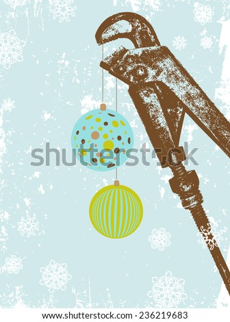 Plumbing Company Vintage Retro Holiday Greetings Card With Wrench and Snowflakes - stock vector