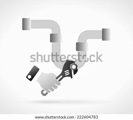 Plumbing concept illustration . Plumber installs piping system - stock vector