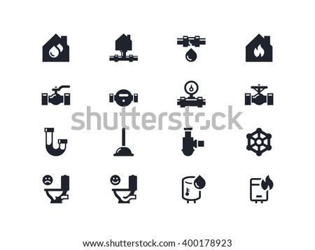 Plumbing. Home repair icons. Lyra series - stock vector