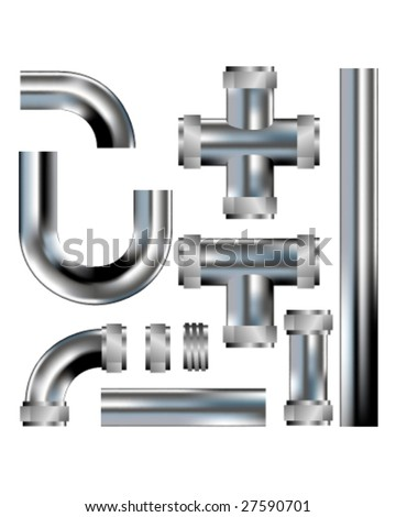 Plumbing pipes - vector set with parts to build your own configurations - stainless steel texture - stock vector