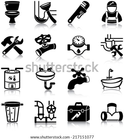 Plumbing related vector icons / silhouettes - stock vector