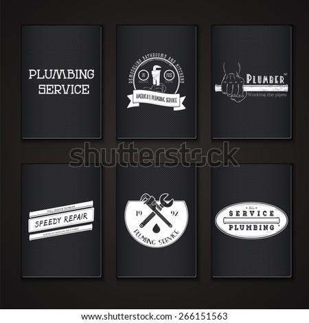 Plumbing service. Home repairs. Repair and maintenance of buildings. Grunge Effect. Set of Typographic Badges. Flat vector illustration - stock vector