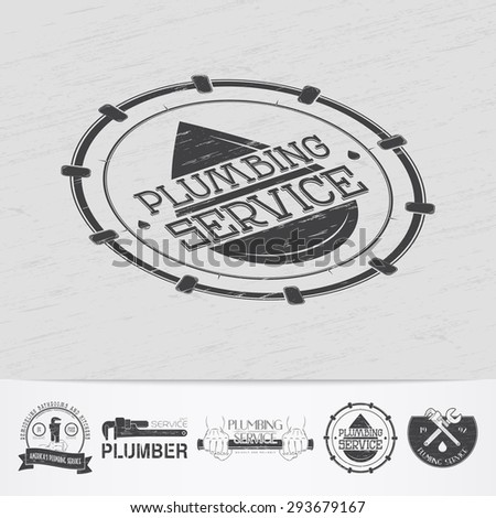 Plumbing service. Home repairs. Repair and maintenance of buildings.Old retro vintage grunge. Scratched, damaged, dirty effect. Monochrome typographic labels, stickers, logos and badges. - stock vector