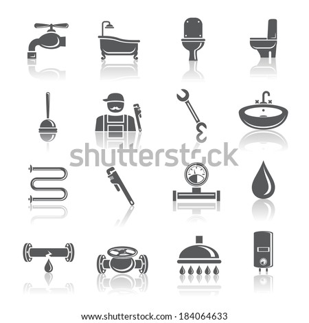 plumbing tools pictograms set of shower bathroom toilet and water tube