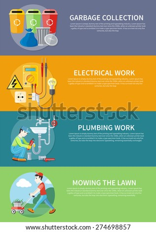 Plumbing work. Sanitary works. Plumber and wrench. Man moves with lawnmower, mows green grass. Garbage and recycling cans collection concept. Electrical work. Socket with devices on banners - stock vector