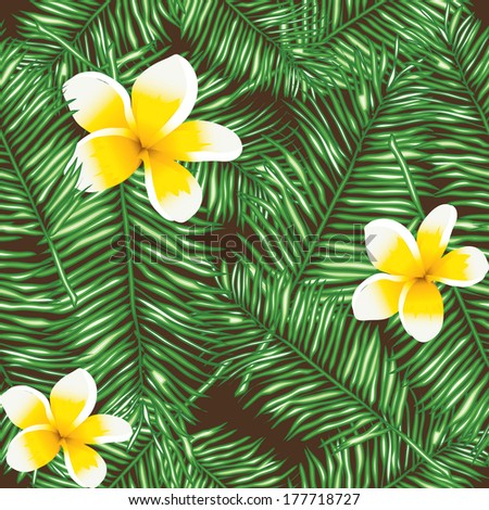 Plumeria seamless vector pattern palm leaves. Floral background. Template for wallpaper, a web page, surface textures, and textiles. Vector hand drawn wave texture. - stock vector