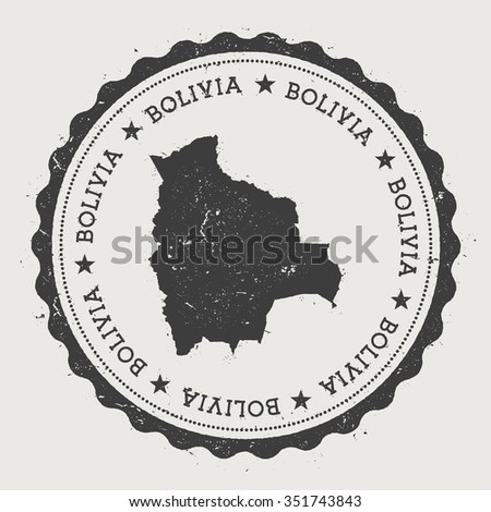 Plurinational State of Bolivia. Hipster round rubber stamp with Bolivia map. Vintage passport stamp with circular text and stars, vector illustration - stock vector