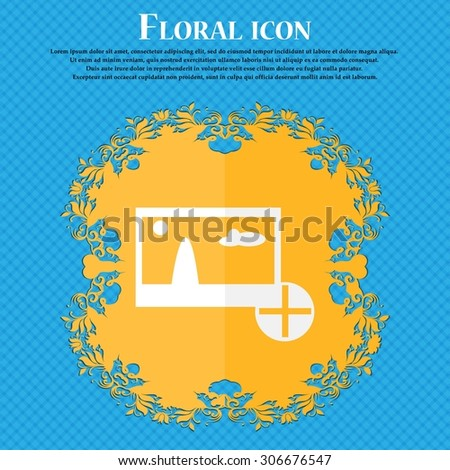 Plus, add File JPG sign icon. Download image file symbol. Floral flat design on a blue abstract background with place for your text. Vector illustration - stock vector