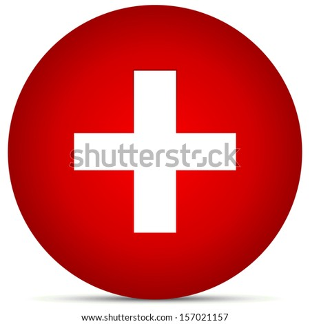 Plus, addition, positive, cross sign/symbol on red background - First-aid, healthcare, Switzerland flag, help, aid, support vector (icon) - stock vector