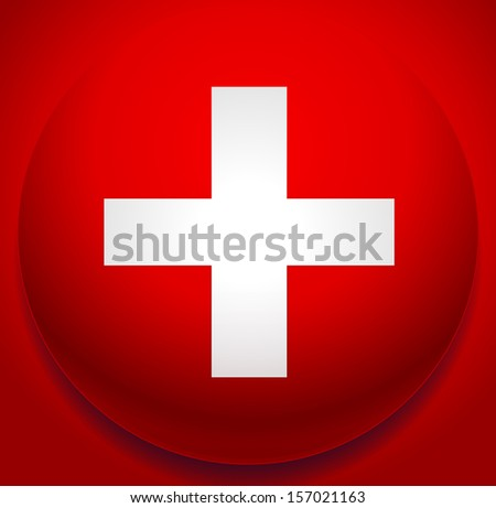 Plus, addition, positive, cross sign/symbol on red background - First-aid, healthcare, Switzerland flag, help, aid, support vector (icon or background) - stock vector