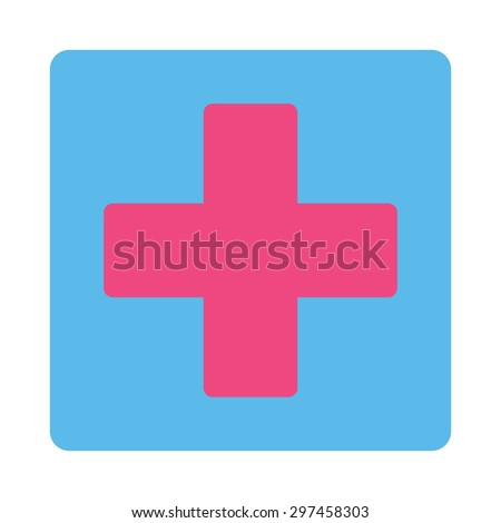 Plus icon from Primitive Buttons OverColor Set. This rounded square flat button is drawn with pink and blue colors on a white background. - stock vector