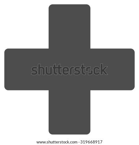 Plus icon from Primitive Set. This isolated flat symbol is drawn with gray color on a white background, angles are rounded. - stock vector