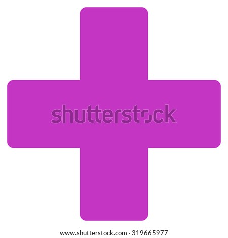 Plus icon from Primitive Set. This isolated flat symbol is drawn with violet color on a white background, angles are rounded. - stock vector