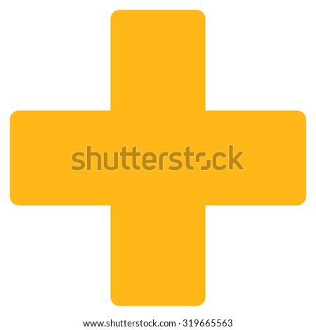 Plus icon from Primitive Set. This isolated flat symbol is drawn with yellow color on a white background, angles are rounded. - stock vector